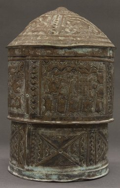 Asante. <em>Lidded Container (Forowa)</em>, late 19th-early 20th century. Copper alloy, height: 10 1/2 in. Brooklyn Museum, Gift of Mr. and Mrs. Franklin H. Williams, 88.192.24a-b. Creative Commons-BY (Photo: Brooklyn Museum, 88.192.24a-b_PS10.jpg)