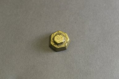 Akan. <em>Gold-weight (abrammuo): geometric</em>, 19th-20th century. Copper alloy, height: 1/2 in. Brooklyn Museum, Gift of Mr. and Mrs. Franklin H. Williams, 88.192.77. Creative Commons-BY (Photo: Brooklyn Museum, 88.192.77_front_PS5.jpg)