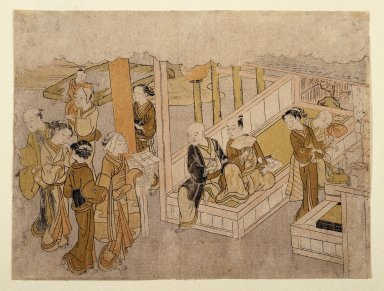 Suzuki Harunobu (Japanese, 1724-1770). <em>The Meeting Together (Miai), from The Marriage Ceremonies</em>, ca. 1768. Color woodblock print on paper, 8 1/4 x 11 in. (21.0 x 28.0 cm). Brooklyn Museum, Gift of Mr. and Mrs. Herbert Libertson, 88.196 (Photo: Brooklyn Museum, 88.196_print_IMLS_SL2.jpg)