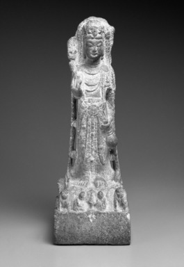 <em>Standing Guanyin</em>, 580-618. Limestone, 22 x 7 1/4 x 5 in. (55.9 x 18.4 x 12.7 cm). Brooklyn Museum, Gift of the Edith and Milton Lowenthal Foundation, 88.197. Creative Commons-BY (Photo: Brooklyn Museum, 88.197_front_bw.jpg)