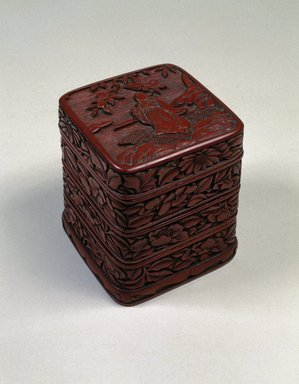 <em>Four-Tiered Box</em>, 16th century. Carved lacquer, 4 3/4 x 3 5/8 in. (12.1 x 9.2 cm). Brooklyn Museum, Gift of Mr. and Mrs. John R. Menke, 88.198a-d. Creative Commons-BY (Photo: Brooklyn Museum, 88.198a-d_SL1.jpg)