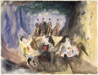 Max Weber (American, born Russia, 1881-1961). <em>Study for Russian Ballet</em>, 1914. Watercolor on laid paper, 18 3/4 x 24 3/4 in. (47.5 x 62.8 cm). Brooklyn Museum, Gift of the Edith and Milton Lowenthal Foundation, 88.205 (Photo: Brooklyn Museum, 88.205_SL1.jpg)