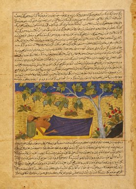 "<em>""Job Lying Under a Tree,"" Page from an Illustrated Manuscript of the Majma` al-tavarikh (Collection of Chronicles) of Hafiz Abru (d. 1430)</em>, ca. 1425. Ink, opaque watercolor, and gold on paper, Sheet: 13 x 16 15/16 in. (33 x 43 cm). Brooklyn Museum, Hagop Kevorkian Fund, 88.27 (Photo: Brooklyn Museum, 88.27_IMLS_SL2.jpg)"