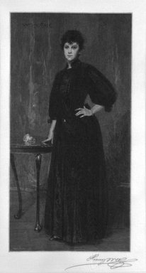 Henry Wolf (American, born France, 1852-1916). <em>A Lady in Black</em>, 1915. Wood engraving on fine tissue paper, 11 3/8 x 8 1/2 in. (28.9 x 21.6 cm). Brooklyn Museum, Purchased with funds given by Mr. and Mrs. Leonard L. Milberg, 88.50.9 (Photo: Brooklyn Museum, 88.50.9_bw.jpg)