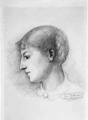 Pierre Puvis de Chavannes (French, 1824-1898). <em>Portrait of Madame Montrosier (Portrait de Madame Montrosier)</em>, ca.1890. Pencil on buff-colored wove paper, 19 1/2 x 13 1/8 in. (49.5 x 33.3 cm). Brooklyn Museum, Purchased with funds given by Karen B. Cohen, 88.51 (Photo: Brooklyn Museum, 88.51_bw.jpg)