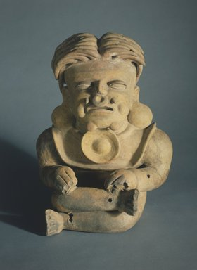 Bahía. <em>Seated Figure</em>, 500 B.C.E.-500 C.E. Clay, post-fire pigment, 17 3/4 x 13 1/4 x 8 1/4 in.  (45.1 x 33.7 x 21.0 cm). Brooklyn Museum, Gift of Mr. and Mrs. Tessim Zorach, 88.57.7. Creative Commons-BY (Photo: Brooklyn Museum, 88.57.7.jpg)