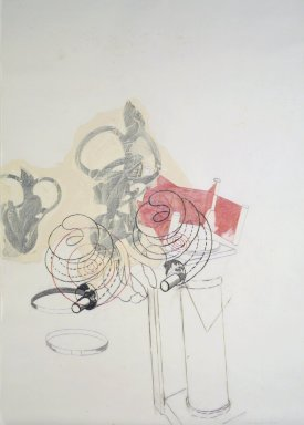 Dove Bradshaw (American, born 1949). <em>Untitled</em>, 1986. Pencil, charcoal, oil paint, and crayon on vellum, 52 x 36 1/2 in. (132.1 x 92.7 cm). Brooklyn Museum, Gift of William Anastasi, 88.73. © artist or artist's estate (Photo: Brooklyn Museum, 88.73_transpc003.jpg)