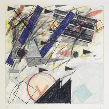 Vladimir Zakrzewski (Polish, born 1946). <em>26.3.1988</em>, 1988. Graphite, colored pencil, oil crayon, mixed media on paper, image: 8 x 8 in. (20.3 x 20.3 cm). Brooklyn Museum, Gift of Ewa and Armond Bartos, Jr., 88.75.5. © artist or artist's estate (Photo: Brooklyn Museum, 88.75.5_transpc004.jpg)