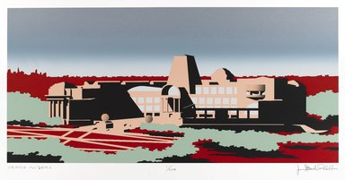 Isozaki Arata (Japanese, born 1931). <em>The New Brooklyn Museum: South Elevation</em>, 1988. Silkscreen in ten colors on Arches cover white, Sheet: 20 1/2 x 28 5/8 in. (52.1 x 72.7 cm). Brooklyn Museum, Gift of the Community Committee of the Brooklyn Museum, 88.76. © artist or artist's estate (Photo: Brooklyn Museum, 88.76_IMLS_PS4.jpg)