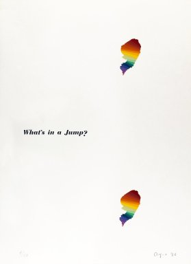 Ay-O (Japanese, born 1931). <em>What's in a Jump?</em>, 1966. Silkscreen on white wove paper, 29 1/4 x 21 1/2 in. (74.3 x 54.6 cm). Brooklyn Museum, Gift of Richard J. Kempe, 88.79.4. © artist or artist's estate (Photo: Brooklyn Museum, 88.79.4_IMLS_PS4.jpg)