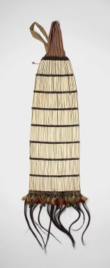 "Shuar. <em>Back Ornament</em>, first half of 20th century. Bird bones (""tayu""), seeds, feathers, cotton fiber, human hair, beetle-wing covers, 43 x 14 x 2 in. (109.2 x 35.6 x 5.1 cm). Brooklyn Museum, Anonymous gift, 88.89.11. Creative Commons-BY (Photo: Brooklyn Museum, 88.89.11.jpg)"