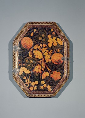 'Ali Ashraf (Iranian). <em>Mirror Case</em>, AH 1165 / 1751 C.E. Ink, opaque watercolor, and gold on papier mâché under a lacquered varnish; silvered glass, 5 3/4 x 7 1/2 in. (14.6 x 19.1 cm). Brooklyn Museum, Gift of Mrs. Charles K. Wilkinson in memory of her husband, 88.92. Creative Commons-BY (Photo: Brooklyn Museum, 88.92.jpg)