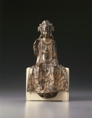 <em>Seated Bodhisattva Maitreya</em>, 557-581. Bronze with traces of gilding, 9 3/4 x 5 1/2 x 2 1/4 in. (24.8 x 14 x 5.7 cm). Brooklyn Museum, Gift of the Asian Art Council, 88.93. Creative Commons-BY (Photo: Brooklyn Museum, 88.93_SL1.jpg)