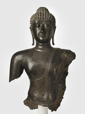<em>Head and Torso of a Buddha</em>, 14th century. Bronze, 38 x 22 1/2 x 11 in., 189 lb. (96.5 x 57.2 x 27.9 cm, 85.73kg). Brooklyn Museum, Purchased with funds given by the Charles Bloom Foundation, Inc., in memory of Mildred and Charles Bloom, 88.94. Creative Commons-BY (Photo: Brooklyn Museum, 88.94_PS11.jpg)