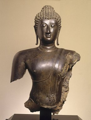 <em>Head and Torso of a Buddha</em>, 14th century. Bronze, 38 x 22 1/2 x 11 in., 189 lb. (96.5 x 57.2 x 27.9 cm, 85.73kg). Brooklyn Museum, Purchased with funds given by the Charles Bloom Foundation, Inc., in memory of Mildred and Charles Bloom, 88.94. Creative Commons-BY (Photo: Brooklyn Museum, 88.94_SL1.jpg)