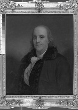 American. <em>Benjamin Franklin</em>, early to mid-19th century. Oil on canvas, 29 15/16 x 25 1/16 in. (76 x 63.7 cm). Brooklyn Museum, Transferred from the Brooklyn Institute of Arts and Sciences to the Brooklyn Museum, 97.10 (Photo: Brooklyn Museum, 97.10_acetate_bw.jpg)