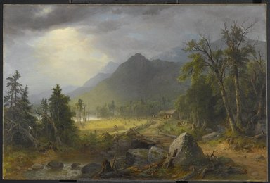 Asher B. Durand (American, 1796-1886). <em>The First Harvest in the Wilderness</em>, 1855. Oil on canvas, 31 5/8 x 48 1/16 in. (80.3 x 122 cm). Brooklyn Museum, Transferred from the Brooklyn Institute of Arts and Sciences to the Brooklyn Museum, 97.12 (Photo: Brooklyn Museum, 97.12_PS1.jpg)