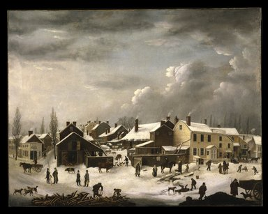 Francis Guy (American, 1760-1820). <em>Winter Scene in Brooklyn</em>, ca. 1819-1820. Oil on canvas, 58 3/8 x 74 9/16 in. (148.2 x 189.4 cm). Brooklyn Museum, Transferred from the Brooklyn Institute of Arts and Sciences to the Brooklyn Museum, 97.13 (Photo: Brooklyn Museum, 97.13_colorcorrected_SL1.jpg)