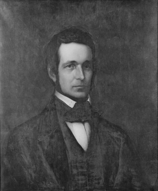 Platt Powell Ryder (American, 1821-1896). <em>Charles M. Olcott</em>, 1888. Oil on canvas, 30 x 24 15/16 in. (76.2 x 63.3 cm). Brooklyn Museum, Transferred from the Brooklyn Institute of Arts and Sciences to the Brooklyn Museum, 97.1 (Photo: Brooklyn Museum, 97.1_bw_SL1.jpg)