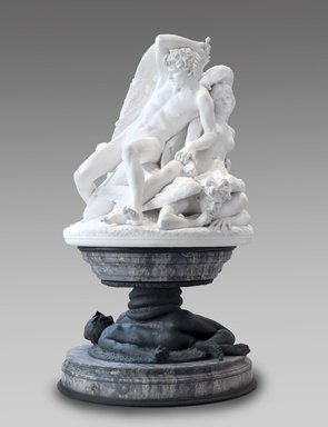 Salvatore Albano (Italian, 1841-1893). <em>The Fallen Angels, or The Rebel Angels</em>, 1893 (marble); 1883 (base). Marble, dark stone, bronze, Base from floor to top of upper plate: 40 x 57 1/2 x 57 1/2 in. (101.6 x 146.1 x 146.1 cm). Brooklyn Museum, Gift of A. Augustus Healy, 97.35. Creative Commons-BY (Photo: Brooklyn Museum, 97.35_PS2.jpg)