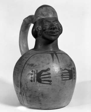 Moche. <em>Vessel with Stirrup Spout</em>. Ceramic, pigment, 8 1/2 x 5 x 5 in. (21.6 x 12.7 x 12.7 cm). Brooklyn Museum, Gift of Kate M. Bunker, 97.36.1. Creative Commons-BY (Photo: Brooklyn Museum, 97.36.1_bw.jpg)