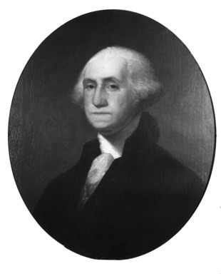 James Frothingham (American, 1786-1864). <em>George Washington (after Gilbert Stuart)</em>, ca. 1860. Oil on canvas, 30 1/8 x 25 3/16 in. (76.5 x 64 cm). Brooklyn Museum, Transferred from the Brooklyn Institute of Arts and Sciences to the Brooklyn Museum, 97.37 (Photo: Brooklyn Museum, 97.37_glass_bw.jpg)