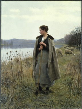 Daniel Ridgway Knight (American, 1839-1924). <em>The Shepherdess of Rolleboise</em>, 1896. Oil on canvas, 68 x 50 1/2 in. (172.7 x 128.2 cm). Brooklyn Museum, Gift of Abraham Abraham, 98.14 (Photo: Brooklyn Museum, 98.14_SL1.jpg)