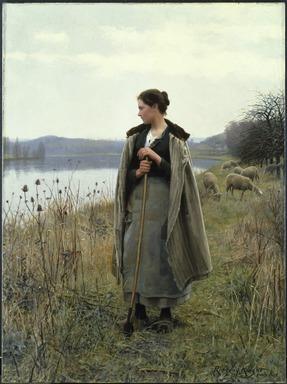 Daniel Ridgway Knight (American, 1839-1924). <em>The Shepherdess of Rolleboise</em>, 1896. Oil on canvas, 68 x 50 1/2 in. (172.7 x 128.2 cm). Brooklyn Museum, Gift of Abraham Abraham, 98.14 (Photo: Brooklyn Museum, 98.14_SL1.jpg)