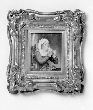 Unknown. <em>Portrait of Woman Threading a Needle</em>, mid-19th century. Watercolor on ivory portrait in gilt wood frame, Image (sight): 4 5/16 x 3 1/2 in. (11 x 8.9 cm). Brooklyn Museum, Gift of James A. H. Bell, 98.6 (Photo: Brooklyn Museum, 98.6_bw.jpg)