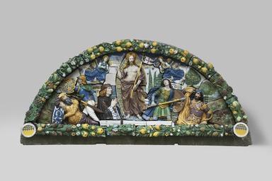 Giovanni della Robbia (Italian, Florentine, 1469-1529/30). <em>Resurrection of Christ</em>, ca. 1520-1525. Glazed terracotta, 68 3/4 x 143 1/2 x 13 in. (174.6 x 364.5 x 33 cm). Brooklyn Museum, Gift of A. Augustus Healy, 99.5. Creative Commons-BY (Photo: Brooklyn Museum, 99.5_PS11.jpg)