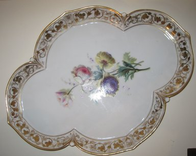 <em>Tray</em>, late 18th-early 19th century. Bone China, 12 5/8 x 1 1/8 x 16 1/2 in. (32.1 x 2.9 x 41.9 cm). Brooklyn Museum, Gift of Judge Townsend Scudder, 51.159.98. Creative Commons-BY (Photo: Brooklyn Museum, COLL.51.159.98.jpg)
