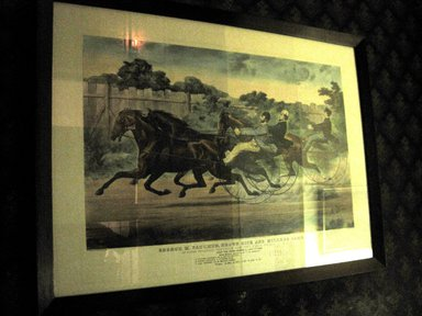 Currier & Ives (American). <em>George M. Patchen, Brown Dick & Millers Damel in their Splendid Trotting Contest for a Purse of $500</em>, 1859. Colored lithograph, frame: 26 x 34 3/4 in. (66 x 88.3 cm). Brooklyn Museum, 53.183.4 (Photo: Brooklyn Museum, COLL.53.183.4.jpg)