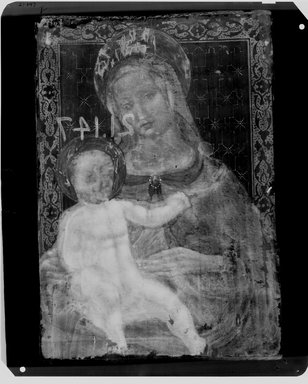 Unknown. <em>Madonna and Child</em>, ca. 1500, overpainted in 19th century. Oil on panel, 15 x 11 in. (38.1 x 27.9 cm). Brooklyn Museum, Bequest of William H. Herriman, 21.147 (Photo: Brooklyn Museum, CONS.21.147_1942_xrs_view01.jpg)