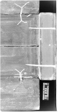 Follower of Bernardo Daddi. <em>The Madonna Enthroned</em>, 1340-1350. Tempera on panel, Open: 22 x 18 3/4 x 2 1/2 in. (55.9 x 47.6 x 6.4 cm). Brooklyn Museum, Gift of Marion Gans Pomeroy, 59.233 (Photo: Brooklyn Museum, CONS.59.233_1996_xrs_detail01.jpg)