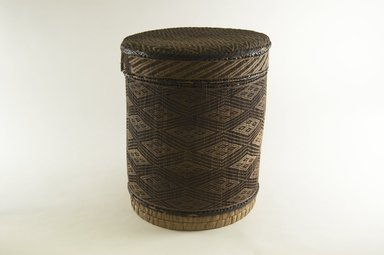Kongo. <em>Round Basket with Cover</em>, late 19th century. Vegetable fiber, wood, 11 in. (27.9 cm). Brooklyn Museum, Brooklyn Museum Collection, 00.65a-b. Creative Commons-BY (Photo: Brooklyn Museum, CUR.00.65a-b_PS5.jpg)