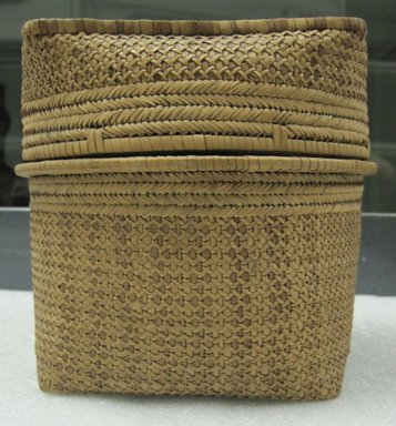 <em>Round Deep Basket with Square Cover</em>, late 19th century. Vegetable fiber, cane, raffia, height: (15.5 cm). Brooklyn Museum, Brooklyn Museum Collection, 00.66a-b. Creative Commons-BY (Photo: Brooklyn Museum, CUR.00.66a-b.jpg)