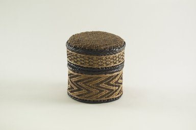 Kongo. <em>Small Round Basket with Cover</em>, late 19th century. Vegetable fiber, wood, 4 5/16 in. (11.0 cm). Brooklyn Museum, Brooklyn Museum Collection, 00.69a-b. Creative Commons-BY (Photo: Brooklyn Museum, CUR.00.69a-b_PS5.jpg)