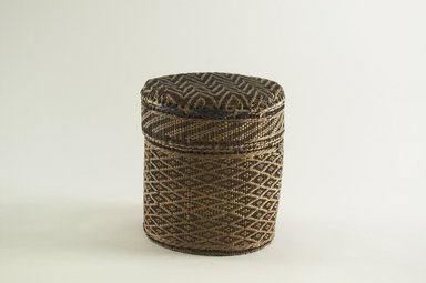 Kongo. <em>Small Round Basket with Cover</em>, late 19th century. Vegetal fiber, wood, height: 6 in. (15.2 cm). Brooklyn Museum, Brooklyn Museum Collection, 00.71a-b. Creative Commons-BY (Photo: Brooklyn Museum, CUR.00.71a-b_PS5.jpg)
