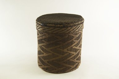 Kongo. <em>Large Round Basket with Cover</em>, late 19th century. Vegetable fiber, wood, 9 3/4 in. (24.8 cm). Brooklyn Museum, Brooklyn Museum Collection, 00.74a-b. Creative Commons-BY (Photo: Brooklyn Museum, CUR.00.74a-b_PS5.jpg)