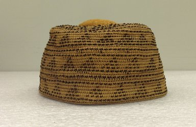 Yombe. <em>Cap</em>, 19th century. Vegetal fiber, height: 4 in. (10.2 cm); diameter: 6 1/2 in. (16.5 cm). Brooklyn Museum, Brooklyn Museum Collection, 00.87. Creative Commons-BY (Photo: Brooklyn Museum, CUR.00.87_side.jpg)