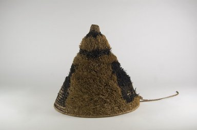 <em>Headdress with Conical Crown</em>. Plant fiber, pigment, 9 13/16 x 12 5/8 in. (25 x 32 cm). Brooklyn Museum, Brooklyn Museum Collection, 01.1504. Creative Commons-BY (Photo: Brooklyn Museum, CUR.01.1504_PS5.jpg)