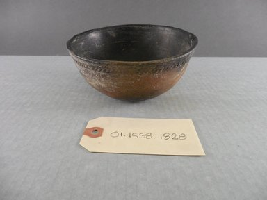 Ancient Pueblo (Anasazi). <em>Blackware Bowl</em>, 700-1050 C.E. Clay, 2 1/2 x 5 5/8 in. (6.4 x 14.3 cm). Brooklyn Museum, Gift of Charles A. Schieren, 01.1538.1828. Creative Commons-BY (Photo: Brooklyn Museum, CUR.01.1538.1828.jpg)