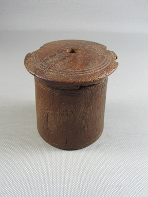 <em>Toilet? Box with Cover</em>, 3rd-4th century C.E. Wood, Dimensions for 02.230a: 2 5/8 × 2 1/2 in. (6.6 × 6.4 cm). Brooklyn Museum, Gift of the Egypt Exploration Fund, 02.230a-b. Creative Commons-BY (Photo: , CUR.02.230a-b_view01.jpg)