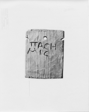 <em>Mummy Label of Pasemis</em>, 30 B.C.E.-395 C.E. Wood, 3 3/4 x 2 13/16 in. (9.5 x 7.2 cm). Brooklyn Museum, Gift of the Egypt Exploration Fund, 02.238. Creative Commons-BY (Photo: , CUR.02.238_NegB_print_bw.jpg)