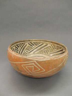 Ancient Pueblo (Anasazi). <em>Kwakina Polychrome Bowl</em>, 1325-1400. Clay, slip, pigment, 5 x 10 1/2 x 10 1/2 in. (12.7 x 26.7 x 26.7 cm). Brooklyn Museum, Gift of Charles A. Schieren, 02.256.2258. Creative Commons-BY (Photo: Brooklyn Museum, CUR.02.256.2258_view1.jpg)
