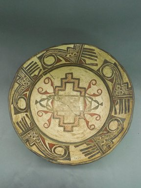 She-we-na (Zuni Pueblo). <em>Decorated Bowl</em>. Clay, slip, pigment, 4 3/4 x 13 1/4 in.  (12.1 x 33.7 cm). Brooklyn Museum, Riggs Pueblo Pottery Fund, 02.257.2409. Creative Commons-BY (Photo: Brooklyn Museum, CUR.02.257.2409_view1.jpg)