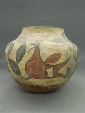 Haak'u (Acoma Pueblo). <em>Water Jar</em>. Clay, slip, 9 1/2 x 6 1/2 in.  (24.1 x 16.5 cm). Brooklyn Museum, Riggs Pueblo Pottery Fund, 02.257.2415. Creative Commons-BY (Photo: Brooklyn Museum, CUR.02.257.2415_view1.jpg)