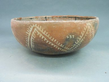 Ancient Pueblo (Anasazi). <em>Bowl</em>, 1275-1400 C.E. Clay, slip, 4 1/2 x 11 1/2 in.  (11.4 x 29.2 cm). Brooklyn Museum, Riggs Pueblo Pottery Fund, 02.257.2437. Creative Commons-BY (Photo: Brooklyn Museum, CUR.02.257.2437_view1.jpg)