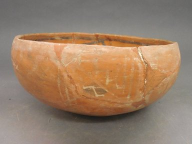 Ancient Pueblo (Anasazi). <em>Heshotauthla Polychrome Bowl</em>, 1275-1400C.E. Clay, slip, 41/4 x 9 3/4 in.  (10.8 x 24.8 cm). Brooklyn Museum, Riggs Pueblo Pottery Fund, 02.257.2451. Creative Commons-BY (Photo: Brooklyn Museum, CUR.02.257.2451_view1.jpg)