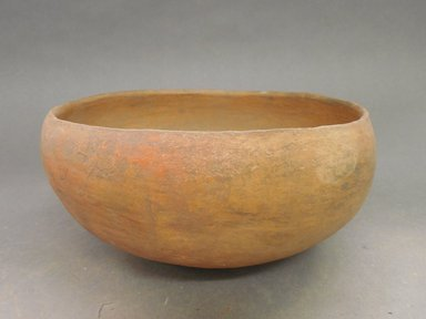 Ancient Pueblo (Anasazi). <em>Orange/Redware Bowl</em>. Clay, slip, 4 1/2 x 8 7/8 (11.4 x 22.5 cm). Brooklyn Museum, Riggs Pueblo Pottery Fund, 02.257.2457. Creative Commons-BY (Photo: Brooklyn Museum, CUR.02.257.2457.jpg)